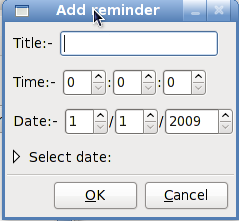 The reminder add dialog