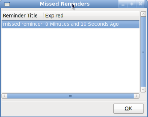 The missed reminders dialog